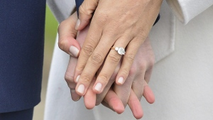 Meghan Markle wears her engagement ring as she poses with Britain's Prince Harry for the media in the grounds of Kensington Palace in London, on Nov. 27, 2017. (Dominic Lipinski/PA via AP)