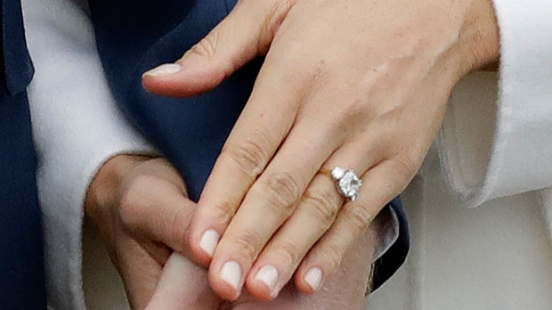 Britain's Prince Harry and his fiancee Meghan Markle hold hands as they pose for photographers during a photocall in the grounds of Kensington Palace in London, Monday Nov. 27, 2017. Britain's royal palace says Prince Harry and actress Meghan Markle are engaged and will marry in the spring of 2018. (AP Photo/Matt Dunham)