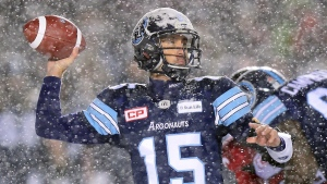 Toronto Argonauts quarterback Ricky Ray (15) passes against the Calgary Stampeders during first half CFL football action in the Grey Cup Sunday November 26, 2017 in Ottawa. (THE CANADIAN PRESS/Paul Chiasson)