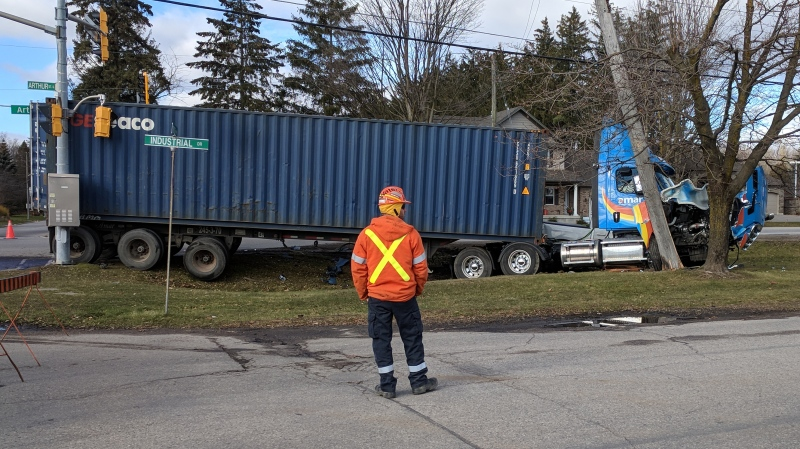 A transport truck crashed into a hydro pole on Arthur Street South in Elmira on Monday, Nov. 27, 2017. (Hayden Phillips / CTV Kitchener)