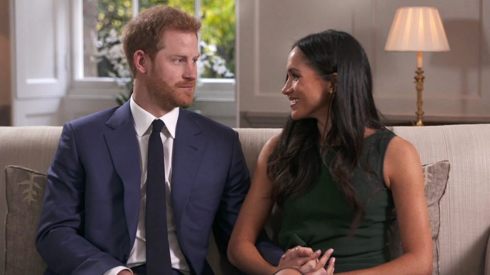 Prince Harry and Meghan Markle talk about their engagement during an interview in London, Monday, Nov. 27, 2017. (Pool via AP)