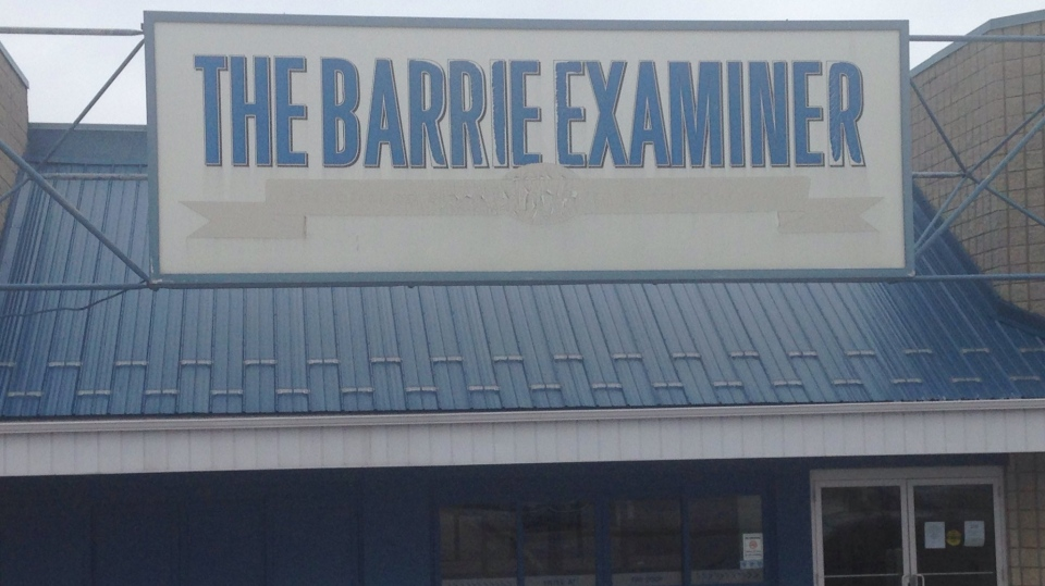 The Barrie Examiner can be seen in Barrie, Ont. on Monday, Nov. 27, 2017. (Mike Arsalides/ CTV Barrie)