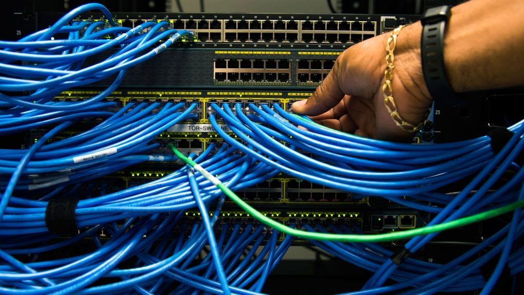 Networking cables in a server bay