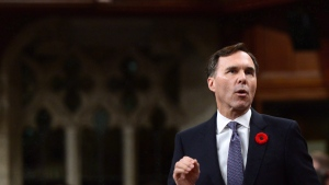 Minister of Finance Bill Morneau stands during question period in the House of Commons on Parliament Hill in Ottawa on Thursday, Nov. 2, 2017. (Sean Kilpatrick / THE CANADIAN PRESS)