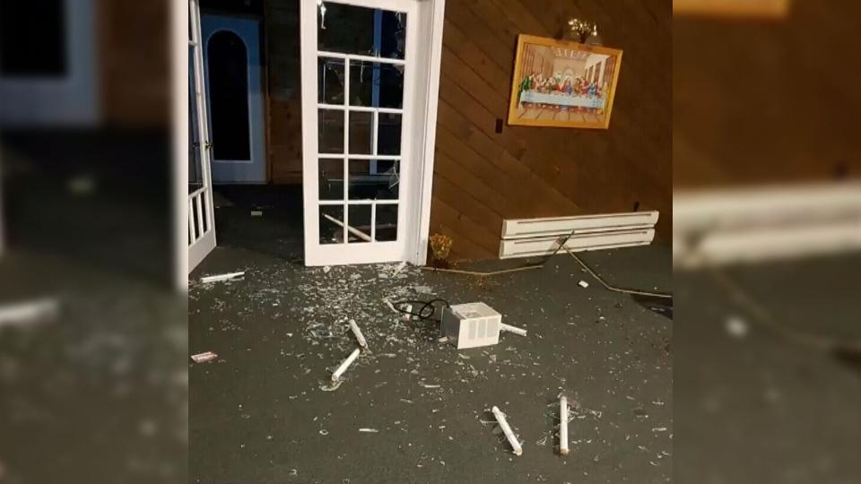 Damage at a church in St. George, N.B.