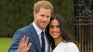Prince Harry and Meghan Markle pose for the media in the grounds of Kensington Palace in London on Monday Nov. 27, 2017. (Dominic Lipinski/PA)