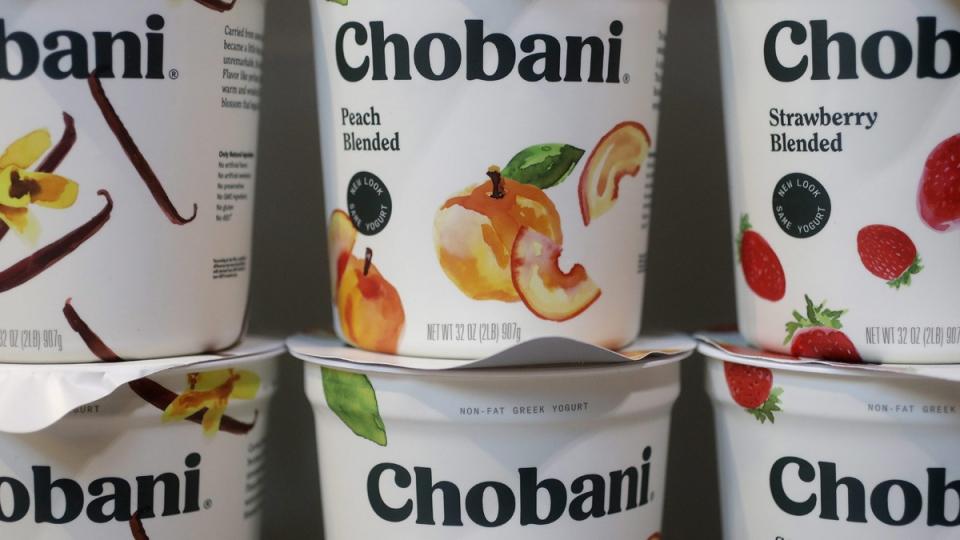 Chobani yogurt products displayed in New York, on Nov. 20, 2017. (Mark Lennihan / AP)