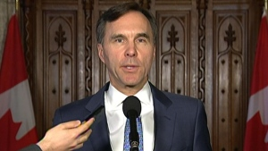 Finance Minister Bill Morneau delivers a statement in the foyer of the House of Commons on Tuesday, Nov. 28, 2017.