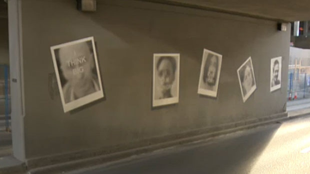 A U.K. comedian says 'Snapshots', in the 4 Street S.W. underpass in Calgary, contains her photo and those of her fellow comedians.