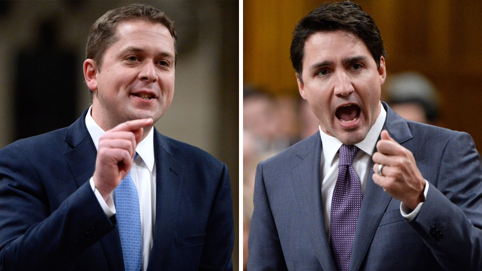Prime Minister Justin Trudeau and Conservative Leader Andrew Scheer are seen in this composite image. (THE CANADIAN PRESS)