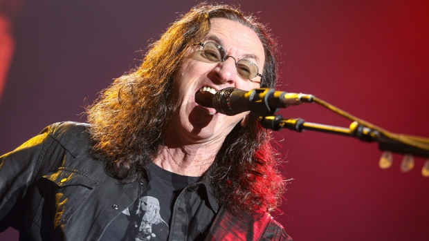 Geddy Lee of Rush performs during the final show of the R40 Tour at The Forum, in Las Angeles, on Saturday, Aug. 1, 2015. (Photo by Rich Fury/Invision/AP)