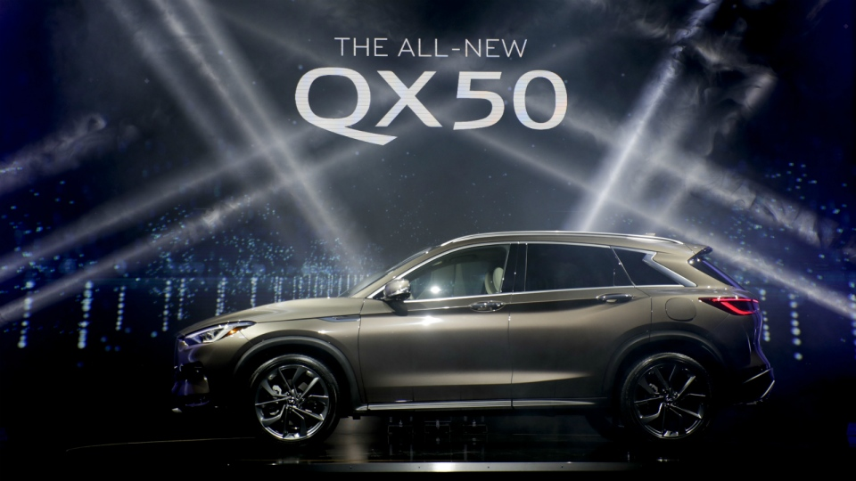 The 2018 Infiniti QX50 is revealed as part of the AutoMobility LA auto show in Hawthorne, Calif Tuesday, Nov. 28, 2017. (AP Photo/Chris Carlson)