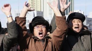 Cheering in Pyongyang