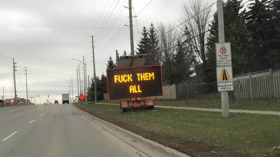 Hacked Electronic Road Sign Displays Obscene Message To