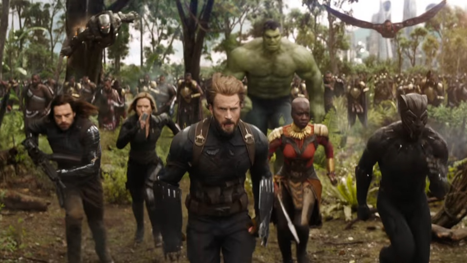 The Avengers charge into battle in this image from the trailer for Marvel's 'Avengers: Infinity War.'