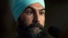 NDP leader Jagmeet Singh speaks with media following caucus Wednesday November 29, 2017 in Ottawa. (Adrian Wyld / THE CANADIAN PRESS)