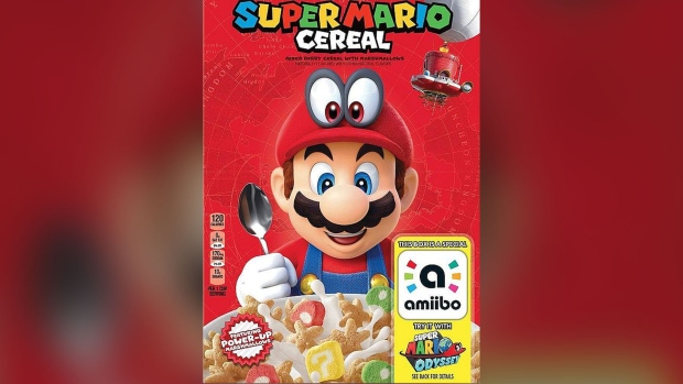 62642494dd A box for 'Super Mario Cereal' found in the inventory of U.S. retail chain  Target is seen here. (Source: Kellogg's/Nintendo)