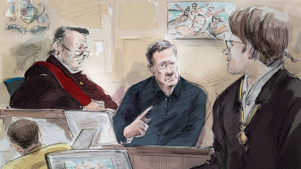 Mark Smich (left to right), Justice Michael Code, Dr. Robert Burns and Dellen Millard are shown in an artist's sketch at the Laura Babcock murder trial in Toronto, Thursday, Nov.16, 2017. (Alexandra Newbould/THE CANADIAN PRESS)