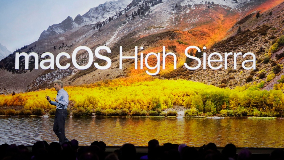 Craig Federighi, Apple's senior vice president of software engineering, speaks about High Sierra operating software during an announcement of new products at the Apple Worldwide Developers Conference in San Jose, Calif., Monday, June 5, 2017. (Marcio Jose Sanchez/AP Photo)