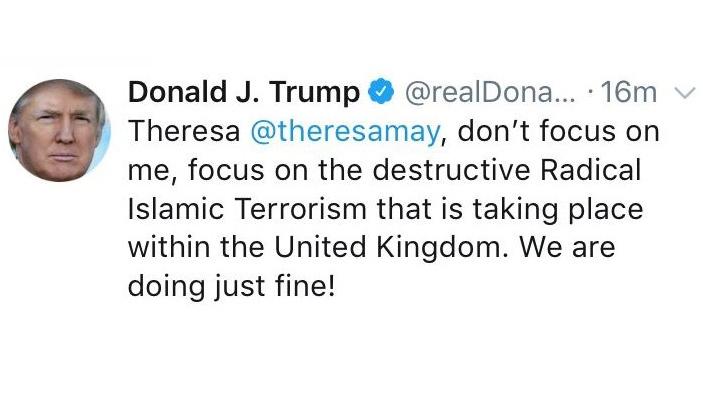 Trump blasts the wrong Theresa May on Twitter | CTV News