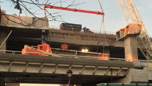 The concrete beam fell during overnight construction on the Turcot rebuild (CTV Montreal / Wayne Toplosky)