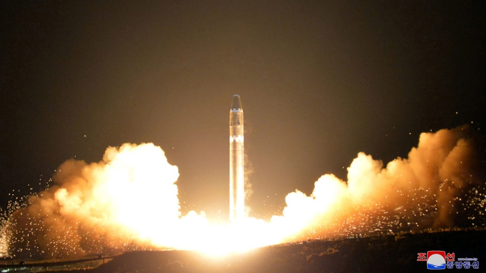 North Korean government photo of its Hwasong-15 intercontinental ballistic missile, at an undisclosed location. (Korean Central News Agency / Korea News Service via AP)