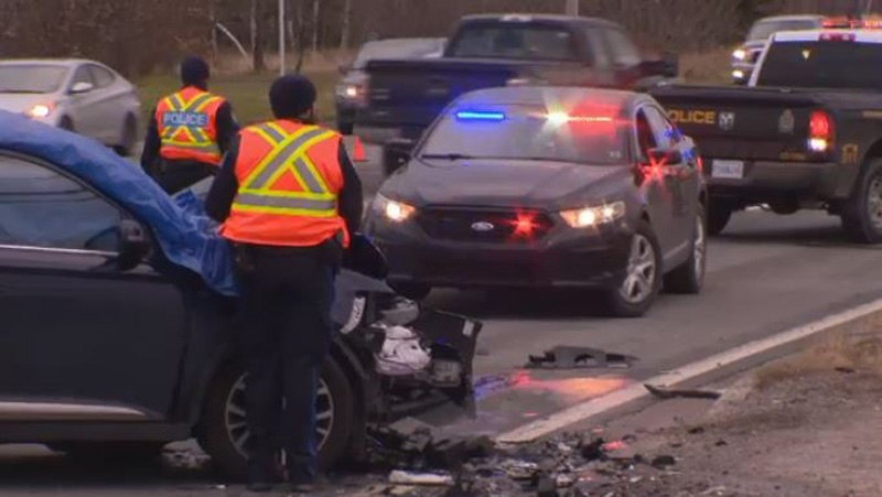 Cape Breton Regional Police respond to a two-vehicle collision on the Sydney – Glace Bay Highway on Nov. 30, 2017.