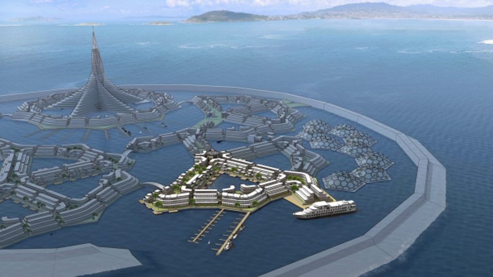 This concept art from the Seasteading Institute shows a floating city.