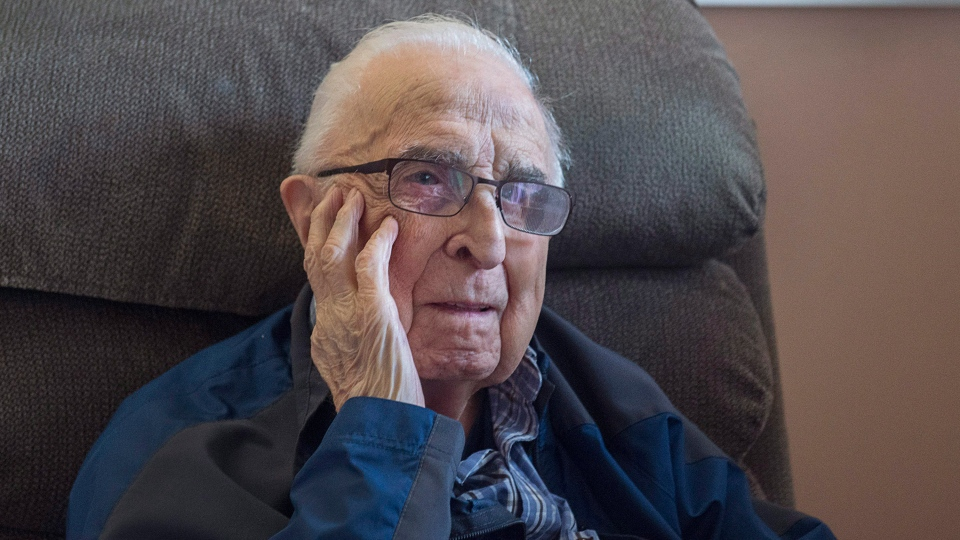 Jim Cuvelier, 101 years old, is seen in his room at Camp Hill Veterans Memorial hospital in Halifax on Monday, Nov. 6, 2017. Cuvelier was an infant when the Halifax Explosion on Dec. 6, 1917 razed the city's North End, killing approximately 2,000 people. (THE CANADIAN PRESS/Andrew Vaughan)
