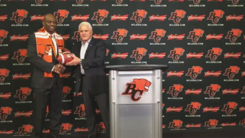 Wally Buono, the head coach, vice president and former general manager of the BC Lions, introduced Ed Hervey as the Lions' new general manager on Nov. 30, 2017. (Facebook / BC Lions)