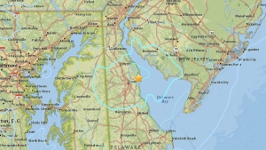 This image from the U.S. Geological Survey shows the centre of Thursday's earthquake. (Source: U.S. Geological Survey)