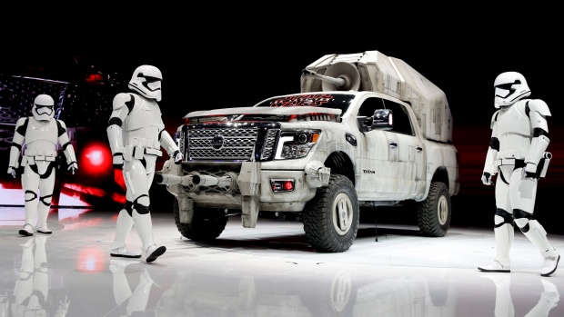 "The ""Star Wars""-themed Nissan Titan custom truck is introduced during the Los Angeles AutoShow, Thursday, Nov. 30, 2017, in Los Angeles. (AP / Chris Carlson)"