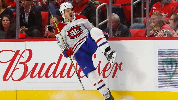 Montreal Canadiens right wing Andrew Shaw celebrates scoring against Detroit Red Wings (AP Photo/Paul Sancya)