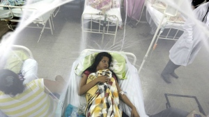 Nadia Gonzalez, enclosed in a mosquito net, recovers from a bout of dengue fever at a hospital in Luque, Paraguay on Feb. 5, 2016. (AP Photo/Jorge Saenz)