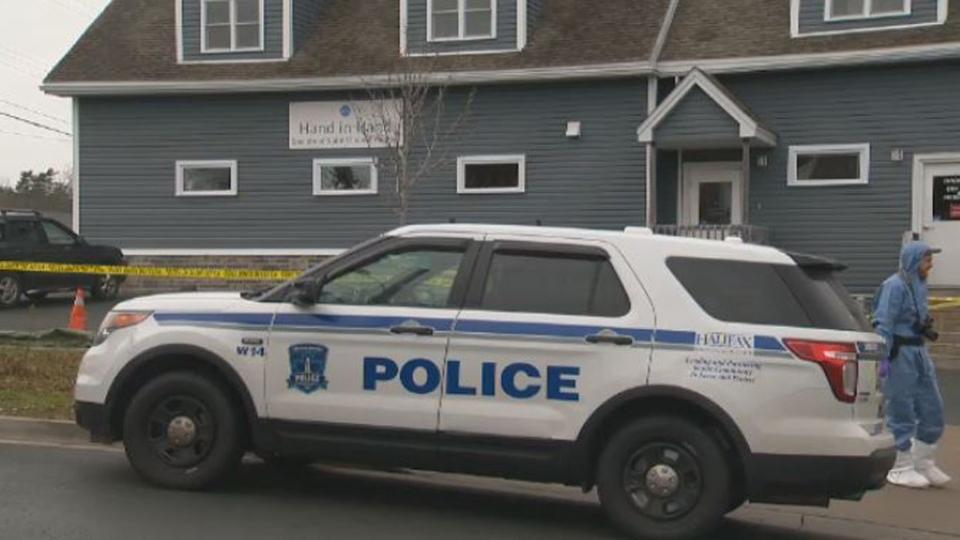 Halifax Regional Police respond to a thrift shop in Spryfield, N.S. on Dec. 1, 2017.