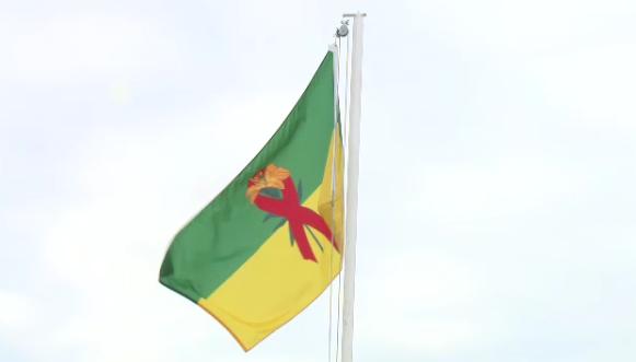World AIDS Day flag flying in Regina.