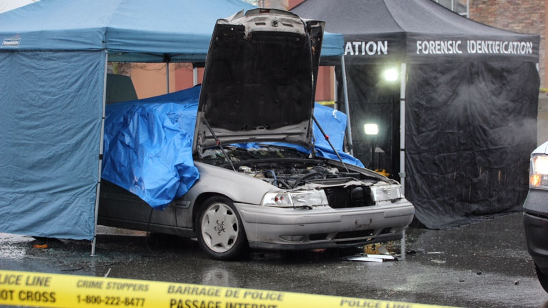 This car was found on fire in a Chilliwack parking lot just after 7:15 a.m. on Dec. 1, 2017.