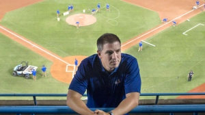 Andrew Tinnish former player for Quebec Capitales and current Assistant to the General Manager for the Toronto Blue Jays for is pictured at the Rogers Centre in Toronto ahead of Toronto Blue Jays MLB game against Oakland A's on Friday, April 22, 2016. THE CANADIAN PRESS/Chris Young