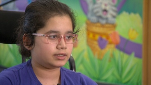 Nupur Mate, 12, discusses the loss of two limbs to group A streptococcus.