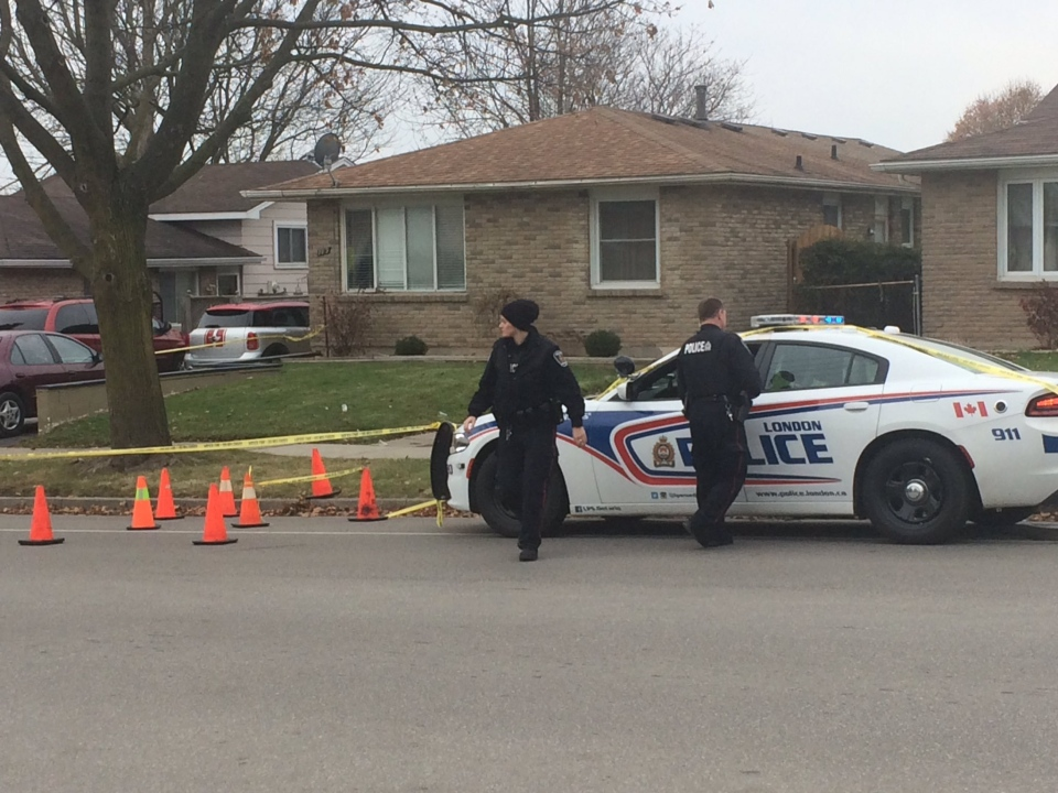 London police and forensics are on scene at 789 Nixon Ave. on Saturday, Dec. 2, 2017 following a shooting.