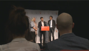 Quebec Solidaire MNAs Gabriel Nadeau-Dubois, Manon Masse and Amir Khadir announce the results of a vote to merge with Option Nationale on Dec. 2, 2017.