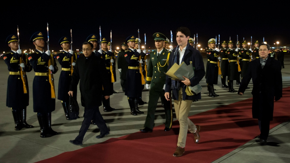 Prime Minister Justin Trudeau arrives in Beijing, China on Sunday, Dec. 3, 2017. (THE CANADIAN PRESS/Sean Kilpatrick)