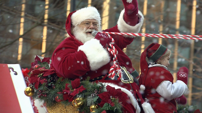 Santa sits atop a float in this file photo of Vancouver's Santa Claus Parade.