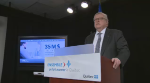 Quebec Health Minister Gaetan Barrette announced $35 million in funding for publicly available psychotherapy treatments on Sunday.