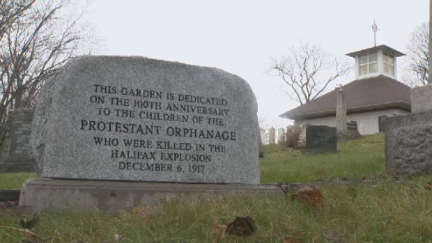 A new monument was unveiled at the St. John's Anglican Church to honour young victims of the Halifax Explosion on Sunday, Dec. 3, 2017.