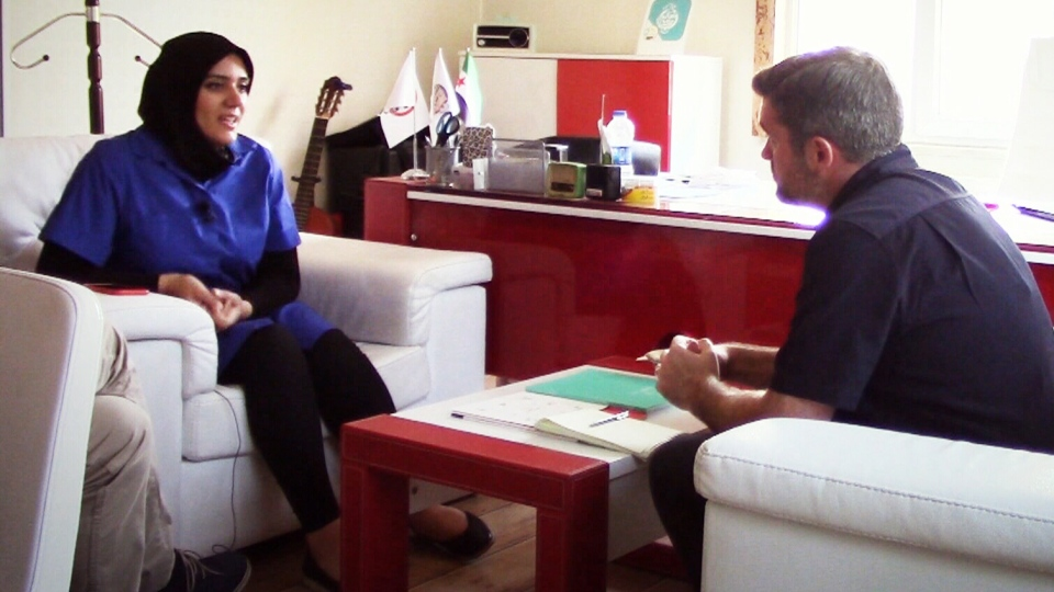 Reem Haleb of Nasaem Syria Radio speaks with CTV's Bill Fortier in Gaziantep, Turkey. (CTV Edmonton)
