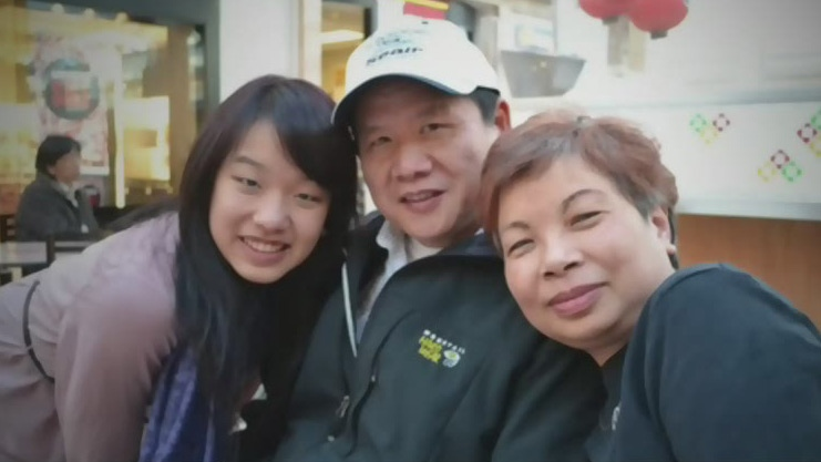 Amy Chang (left) is pictured with her parents John Chang and Allison Lu, who have been detained in China since March, 2016.