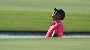 Tiger Woods reacts after a shot from a bunker during the Hero World Challenge in Nassau, Bahamas, on Dec. 3, 2017. (Dante Carrer / AP)