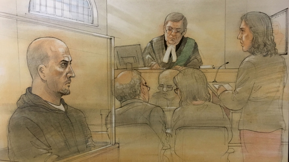 Gerard McGilly appears in court for a bail hearing after being charged with 10 new offences on Dec. 4, 2017. (Sketch by John Mantha)