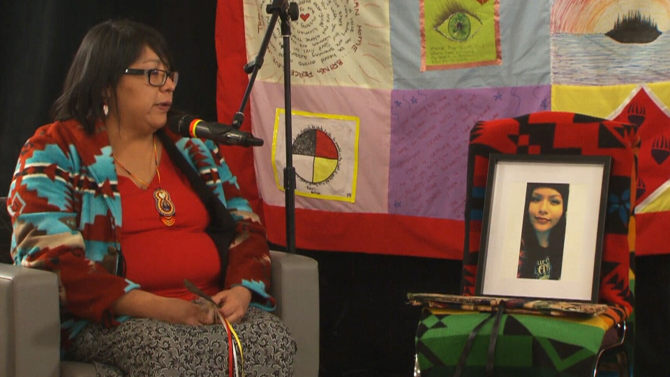Anita Ross gives testimony about the disappearance of her daughter at the Missing and Murdered Indigenous Women and Girls inquiry in Thunder Bay, Ont., on Monday, Dec. 4, 2017.